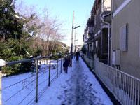 狭い路地も雪が