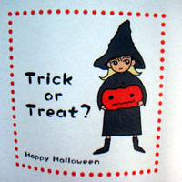 Tシャツ・かぼちゃと魔女さんのアップ