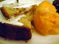 シフォンケーキとオレンジシャーベット